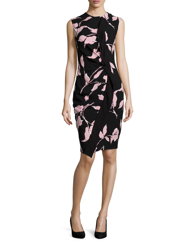 Sleeveless French-Rose-Print Sheath Dress, Black/Rose