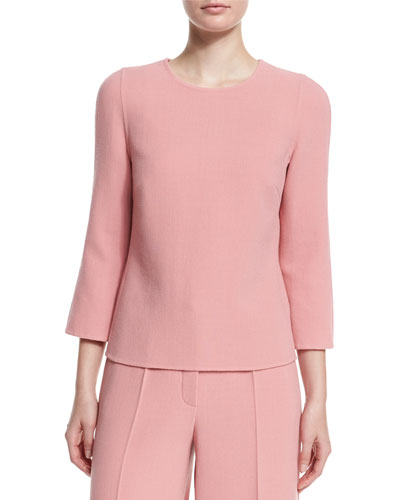 3/4-Sleeve Jewel-Neck Top, Rosehip