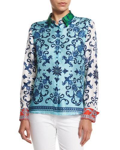 Acanthus Coin Button-Front Blouse, Off White/Multi Colors