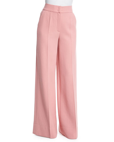 High-Waist Wide-Leg Trousers, Rosehip
