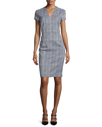 Short-Sleeve Glen-Check Sheath Dress, Blue/White