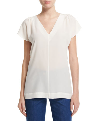 V-Neck Flutter-Sleeve Shell, Off White