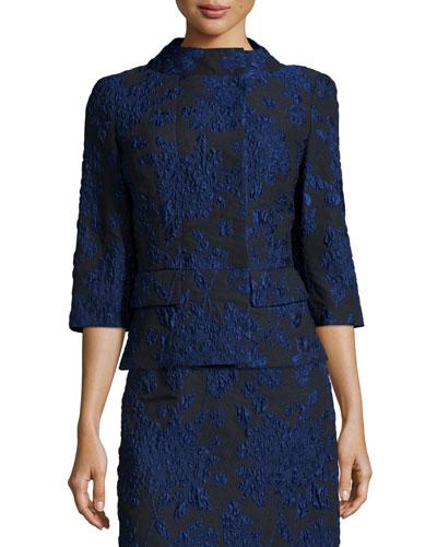 3/4-Sleeve Floral-Print Jacket, Navy/Black
