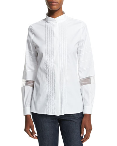 Long-Sleeve Embroidered-Stripe Shirt, White