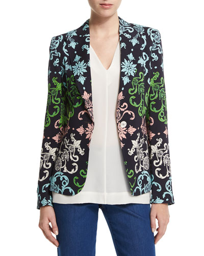 Acanthus Coin One-Button Heritage Blazer, Multi