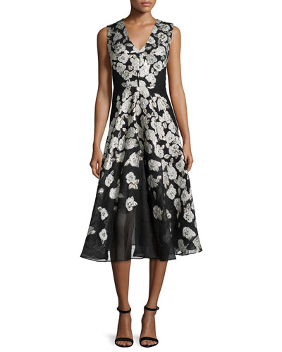 Sleeveless Stamped-Floral Dress, Black