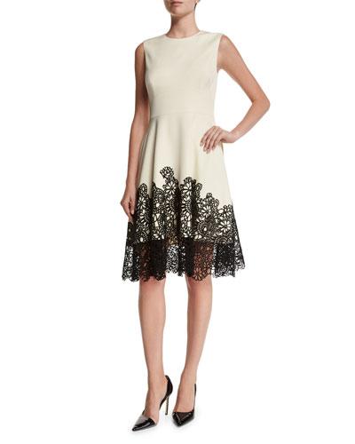 Fit-&-Flare Lace-Hem Dress, Ivory/Black