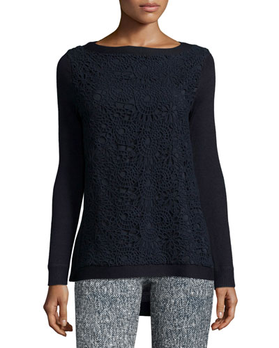Long-Sleeve Lace-Front Top, Navy