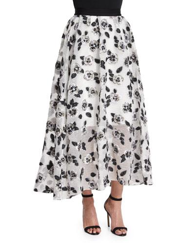 Stamped-Floral Full Midi Skirt, Ivory/Black
