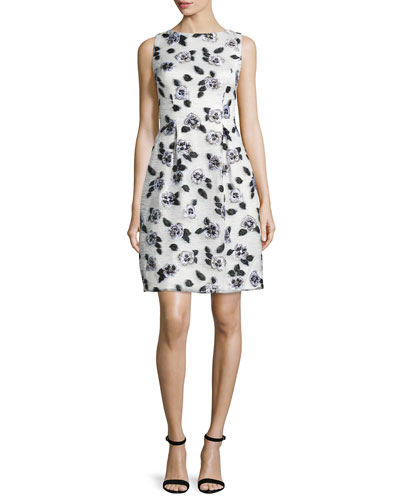 Betsy Full-Skirt Floral Sheath Dress, Ivory/Black