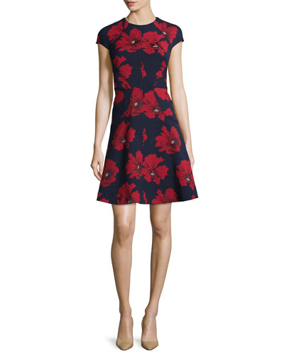 Blair Cap-Sleeve Floral-Print Dress, Navy/Poppy