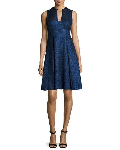 Sleeveless Metallic Fit-&-Flare Dress, Blue