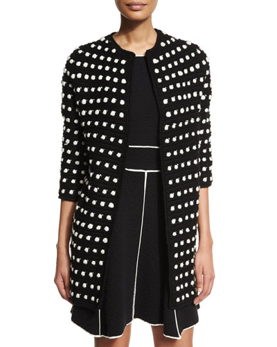 3/4-Sleeve Two-Tone Cocoon Cardigan, Black/Ivory
