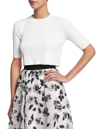 Short-Sleeve Button-Back Crop Top, Ivory