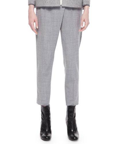 Slim-Leg Cropped Pants, Light Gray Multi