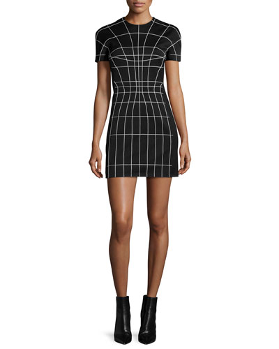 Short-Sleeve Sculpted Mini Dress, Black/Off White