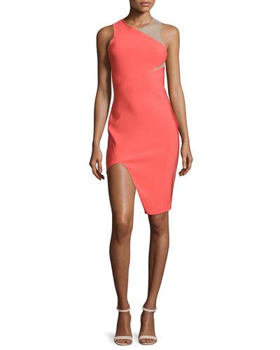 Sleeveless Mega Milano Mesh-Inset Dress, Coral