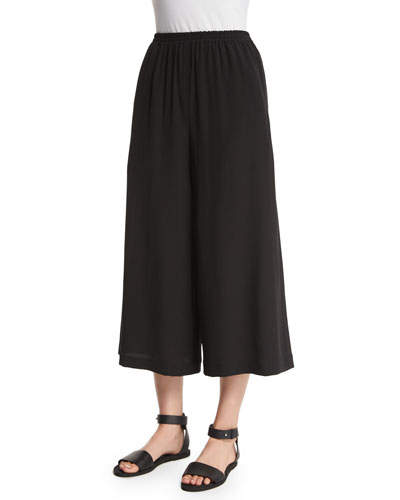 Flare-Leg Cropped Trousers, Black