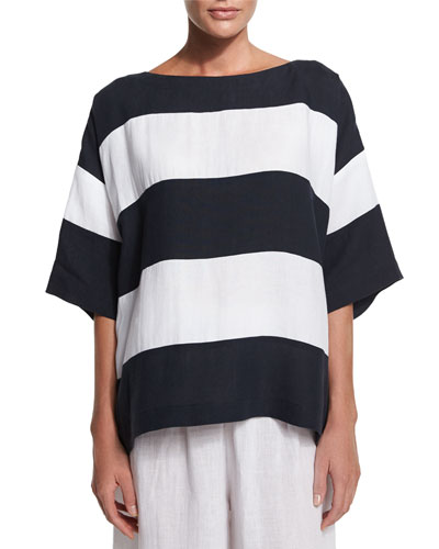 3/4-Sleeve Wide-Striped T-Shirt, Navy/White