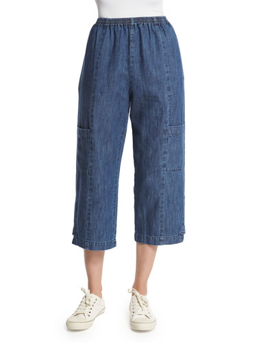 Wide-Leg Cropped Trousers, Denim
