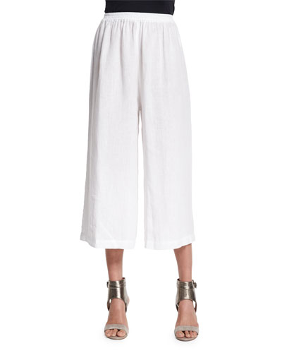 Flare-Leg Cropped Linen Trousers, White