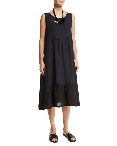 Sleeveless Colorblock Tiered Linen Dress, Black/Navy