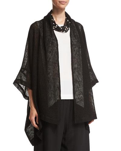 Open-Front 3/4-Sleeve Jacket, Black
