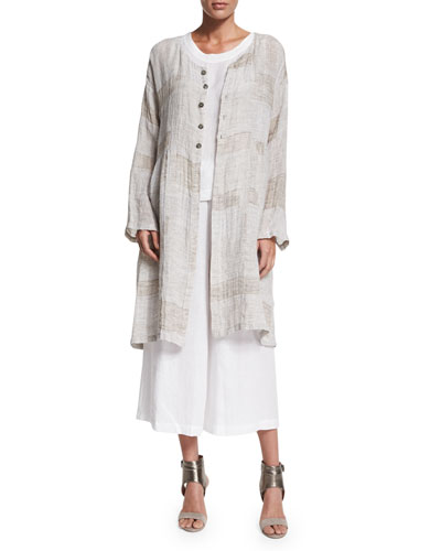 Round-Neck Long Coat with Pleated Panels, Hessian