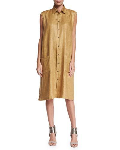 Sleeveless Button-Front Linen Shirtdress, Gold
