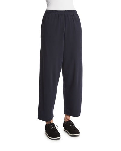 Basic Cropped Pima Trousers, Navy