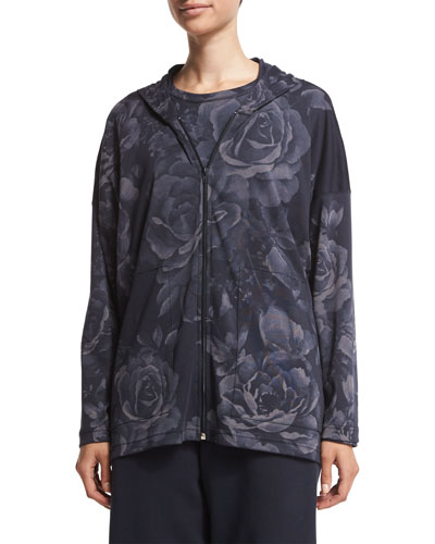 Long-Sleeve Floral-Print Sweater, Navy