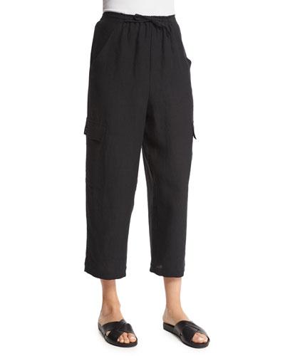 Nobu Cargo Cropped Linen Trousers, Black