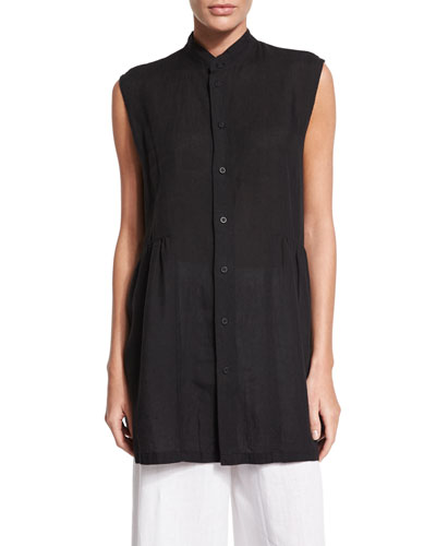 Sleeveless Button-Front Long Top, Black