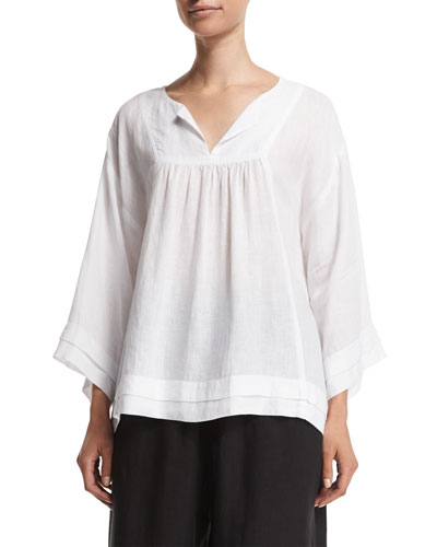 Long-Sleeve Pleated-Edge Artisan Top, White