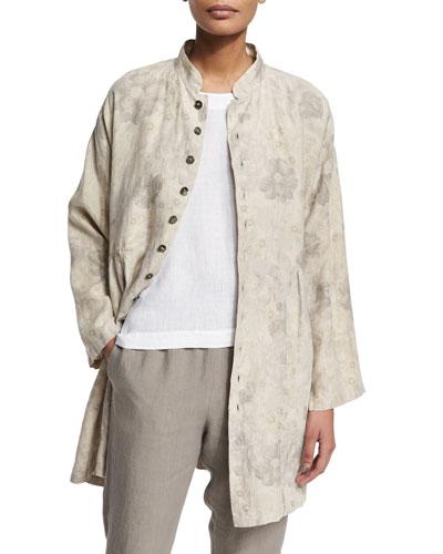 Floral-Print Button-Down Linen Jacket, Grays