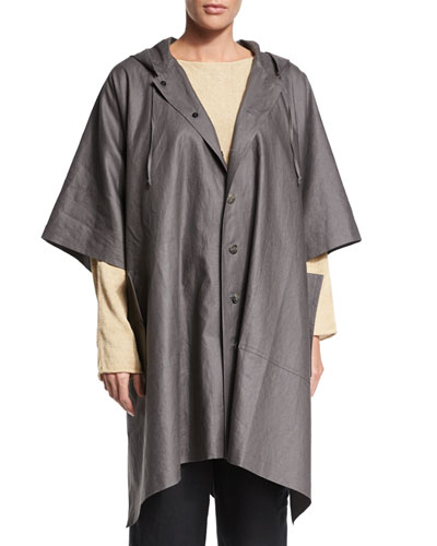 Hooded Button-Front Raincoat Poncho, Elephant