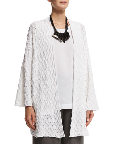 3/4-Sleeve Open-Front Cardigan, White