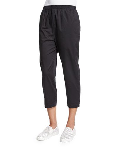 Cropped Slim-Leg Trousers, Black