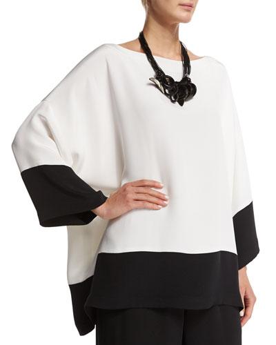 3/4-Sleeve Bateau-Neck Colorblock Top, Black/White