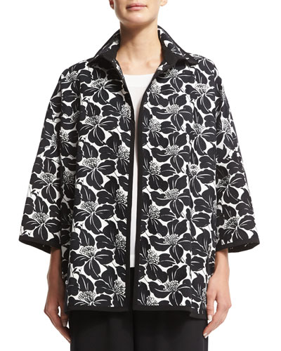 Floral-Print Open-Front Jacket, Black