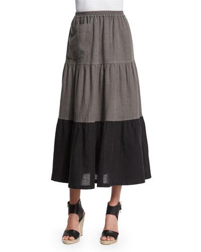 Colorblock Tiered Linen Petticoat Skirt, Black/Elephant