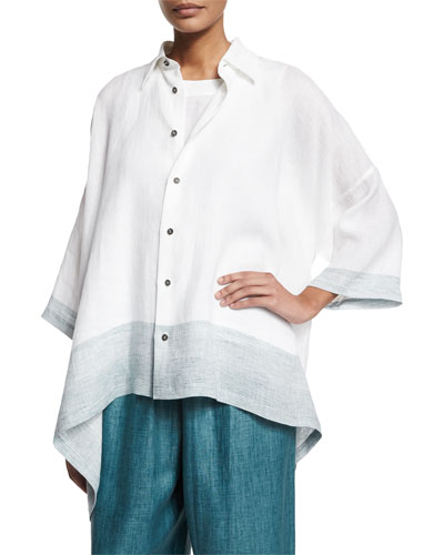 Button-Front Ombre-Striped Linen Top, Teal