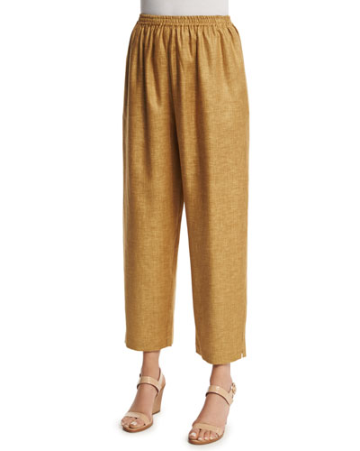 Wide-Leg Cropped Linen Trousers, Gold