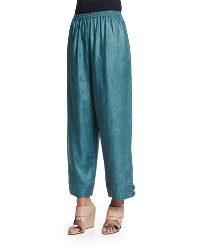 Slimmer Japanese Button-Cuff Linen Ankle Pants, Teal