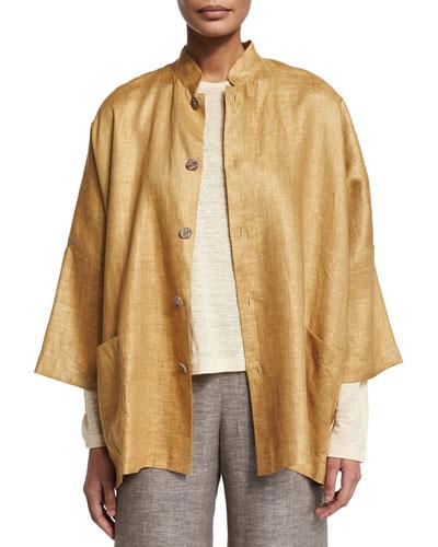 Sloped-Shoulder Linen Mandarin Jacket, Gold