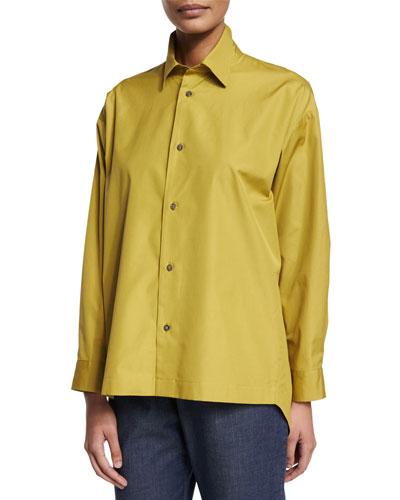 Slim-Fit Button-Down Shirt, Dark Olive Oil