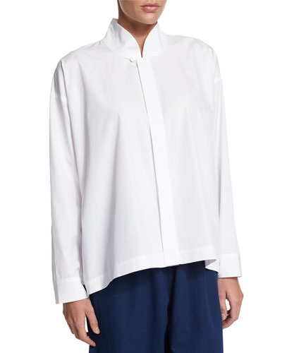 Long-Sleeve A-Line Imperial Top, White