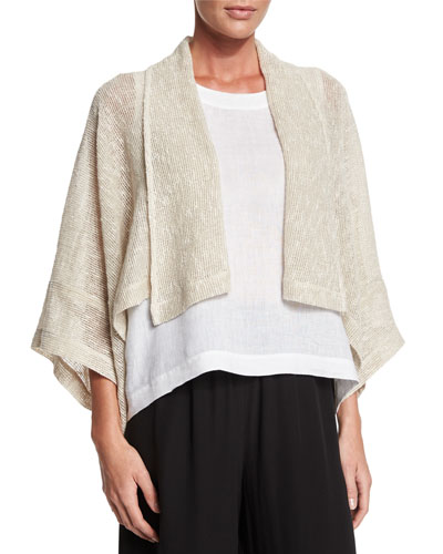 Open-Front Shawl-Collar Jacket, Undyed