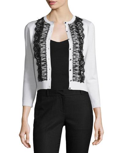 3/4-Sleeve Lace-Inset Cardigan, Ivory/Black