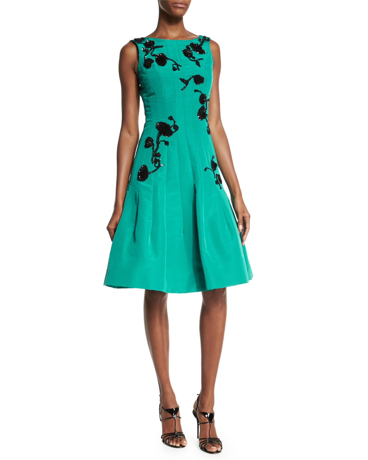 Sleeveless Sequined-Floral Motif Dress, Teal